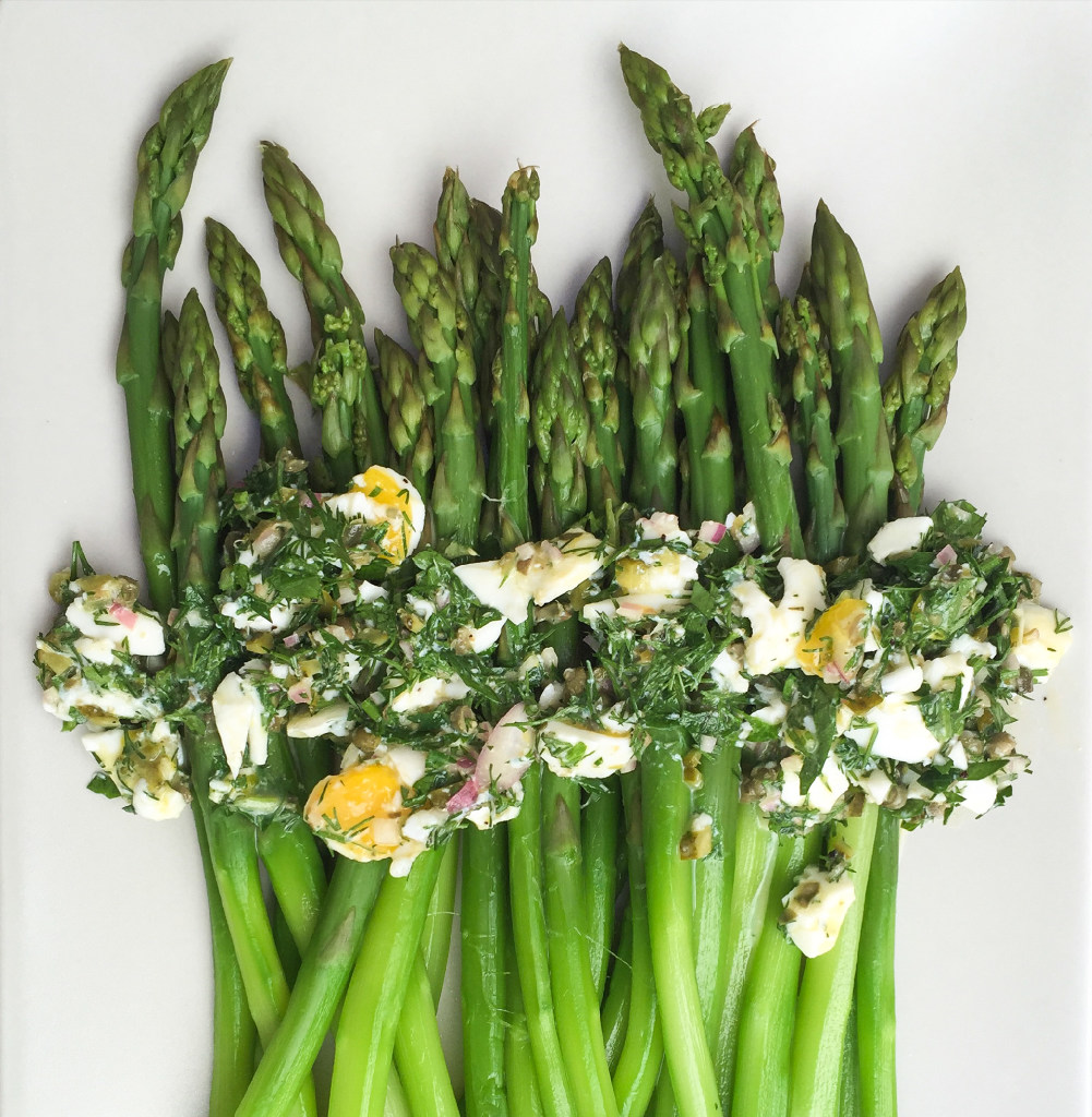 Poached asparagus dressed in new-wave sauce gribiche. (Leslie Brenner/Staff)