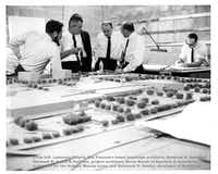 In this 1960s file photograph, the design team behind NorthPark Center includes, far left, San Francisco based landscape architect Lawrence Halprin (Courtesy of the NorthPark Center Archives)