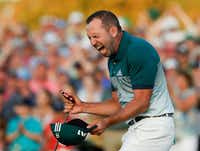Sergio Garcia, of Spain, reacts after making his birdie putt on the 18th green to win the Masters golf tournament after a playoff Sunday, April 9, 2017, in Augusta, Ga. (Matt Slocum/The Associated Press)