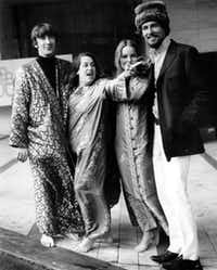 The Mamas and the Papas,  left to right, Denny Doherty, Cass Elliot, Michele Gilian, and John Phillips, seen here in this Oct. 6, 1967 photo(AP Photo/Kemp)(AP)