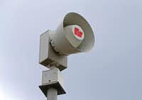 One of Federal Signal Corp.'s sirens, this one at the corner of Gaston Avenue and North Good-Latimer Expressway in Dallas. (Jae S. Lee/Staff Photographer)