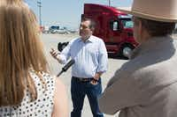 Sen. Ted Cruz spoke talks to reporters during a tour of the Peterbilt Motors Co. manufacturing plant in Denton. (Jeff Woo/Denton Record-Chronicle)