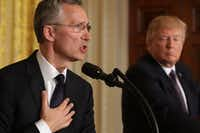 "WASHINGTON, DC - APRIL 12:  NATO Secretary General Jens Stoltenberg (L) and U.S. President Donald Trump hold a news conference in the East Room of the White House April 12, 2017 in Washington, DC. Trump reaffirmed the United States' commitment to the North Atlantic alliance and its ""ironclad"" pledge to defend NATO allies, even though he repeatedly questioned the relevance of the military organization during the campaign.  (Photo by Chip Somodevilla/Getty Images)(Getty Images)"