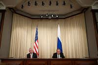 Russian Foreign Minister Sergey Lavrov, right, and US Secretary of State Rex Tillerson attend a news conference following their talks in Moscow, Russia, Wednesday, April 12, 2017. Amid a fierce dispute over Syria, the United States and Russia agreed Wednesday to work together on an international investigation of a Syrian chemical weapons attack last week. (AP Photo/Ivan Sekretarev)(AP)