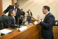 """<p>Comptroller Glenn Hegar, right, has floated the idea of investing<span style=""""font-size: 1em; background-color: transparent;"""">surplus rainy-day dollars in a """"Texas Legacy Fund."""" (2016 File Photo/Austin American-Statesman)</span></p>"""