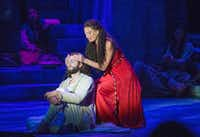 "Jackie Burns in the role of Mary Magdalene sings ""Everything;'s Alright"" to Daniel Rowan in the role of Jesus of Nazareth in the musical Jesus Christ Superstar at Casa Manana in Fort Worth, Texas on September 10, 2016. (Robert W. Hart/Special Contributor)(Special Contributor)"
