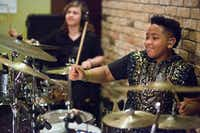 The Drummies, including AD Roberts, 11, right, and JD Beck, 13, left, perform at the TenOak during the 2017 SXSW Conference in Austin, Texas on March 18, 2017. The duo both play the drums combining their playing and trading solos. (Julia Robinson/Special Contributor)