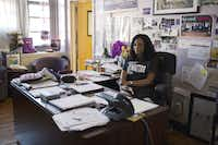 Nadia Lopez, the principal at Mott Hall Bridges Academy, in her office in the Brownsville neighborhood of New York, March 29, 2017. (Christopher Lee/The New York Times)