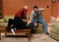 (from l-r) Brandon Potter, Thomas Ward and Drew Wall play brothers in 'Straight White Men' for Second Thought Theatre April 12-May 6, 2017 at Bryant Hall at the Kalita Humphreys campus in Dallas.(Karen Almond)