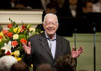 In this Aug. 23, 2015 file photo, former President Jimmy Carter teaches Sunday School class at Maranatha Baptist Church in his hometown  in Plains, Ga. (AP Photo/David Goldman)(AP)