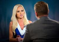 Tomi Lahren (left) talks with Greenville City Councilman Brent Money during a taping of her show Tuesday, October 11, 2016 in Irving, Texas. (G.J. McCarthy/The Dallas Morning News)