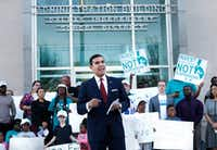 Dallas Independent School District Board member Miguel Solis speaks out against suspending students at the DISD Administration Building earlier this year. (Brandon Wade/Special Contributor)