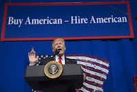 US President Donald Trump speaks after touring Snap-On Tools in Kenosha, Wisconsin, April 18, 2017, prior to signing the Buy American, Hire American Executive Order.(SAUL LOEB/AFP/Getty Images)