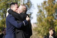 "<p><strong style=""font-size: 1em; background-color: transparent;"">Vic Holmes (left) and Mark Phariss kiss during their wedding at the Westin Stonebriar Hotel in Frisco on Saturday, November 21, 2015. </strong><span style=""font-size: 1em; background-color: transparent;"">(2015 file photo/Vernon Bryant)</span></p>"