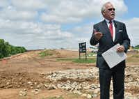 John M. Bales, former U.S. attorney for the Eastern District of Texas, announced the indictment in April 2016 of two Dallas men who bought and flipped land to the state using fraud. (David Minton/Denton Record-Chronicle)