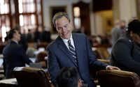 Speaker Joe Straus, on the House floor Wednesday, and his allies advanced the school finance bill despite opposition from a group of dozens of GOP lawmakers called the Texas Conservative Coalition. (Eric Gay/The Associated Press)