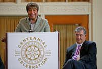 Congresswoman Eddie Bernice Johnson speaks next to Mayor Mike Rawlings during the Union Station Centennial Celebration at Union Station's Grand Hall in Dallas on Oct. 17, 2016. The City Council renamed the facility Eddie Bernice Johnson Union Station.(Jae S. Lee/Staff Photographer)