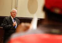 Texas Republican Congressman Joe Barton listens as Chuck Dandridge asks questions during a town hall meeting at Mansfield City Hall on April 13, 2017. (David Woo/The Dallas Morning News)