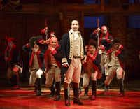 This image released by The Public Theater shows Lin-Manuel Miranda with the cast during a performance of <i>Hamilton</i> in New York. (Joan Marcus/The Public Theater)