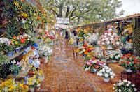"Clark Hulings, <i>Cuernavaca Flower Market</i>, oil on Canvas, 26 x 39"", Mexico, 1992(Clark Hulings)"