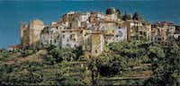 Clark Hulings, <i>A Hilltop Town in Liguria</i>, oil on Canvas, 17 x 36 , Italy, 1999(Clark Hulings)