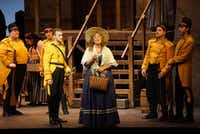 "Kerriann Otaño, as Micaëla, comes looking for Don José in dress rehearsal for the Fort Worth Opera production of ""Carmen"" at Bass Performance Hall in Fort Worth, Texas on April 20, 2017.(Special Contributor)"