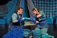 Karl Schaeffer plays Pale Blue and Tiffany Riley plays Inky Blue in <i>Blue</i> at Dallas Children's Theater through May 7.((Karen Almond))