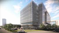 A 7-story office building is planned on the corner of Inwood and Alpha roads.(O'Brien Architecture)