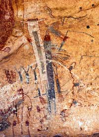 """The Fourth Ancestor transforming into the Moon Goddess. "" From <i>The White Shaman Mural</i>, by Carolyn E. Boyd with Kim Cox. (<p>Shumla Archaeological Research and Education Center</p>)"
