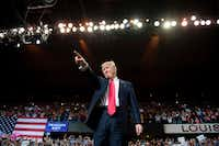 President Donald Trump arrives for a 'Make America Great Again' rally at the Kentucky Exposition Center in Louisville, Kentucky, March 20, 2017. (Jim Watson / Getty Images)