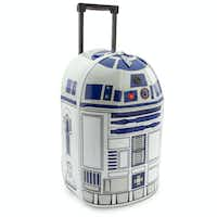 R2-D2 Rolling Luggage from Disney: Now they can take R2-D2 on their adventures when they visit galaxies far far away, or a little closer to home. The Astromech droid has been adapted for earthly travels as this rolling luggage that beeps and lights up!((Disney))