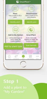 Step 1 of Smart Plant app: Add a plant to my garden. ((Smart Plant App))