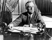 """U.S. President Franklin D. Roosevelt delivers his first radio """"Fireside Chat"""" in Washington in March, 1933.  (AP Photo)(ASSOCIATED PRESS)"""