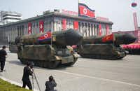 North Korea has commanded much of Trump's attention. Here, missiles are paraded in Pyongyang on April 15 to celebrate the 105th birth anniversary of Kim Il Sung, the country's late founder and grandfather of current ruler Kim Jong Un. (Wong Maye-E/The Associated Press)