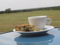 Coffee and scones on the deck at Rancho Loma.(Tina Danze)