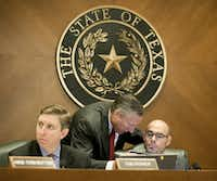 "Angleton GOP Rep. Dennis Bonnen (right) said it's regrettable the state is ""taxing businesses even when they lose money."" (2015 File Photo/Austin American-Statesman)"