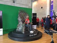 After the AT&T annual shareholders meeting on Friday, April 28, 2017, Communications Workers of America Local 6201 president Georgia Day-Thomas poses on the Iron Throne from HBO's hit drama series The Game of Thrones. The meeting was held at the Dallas City Performance Hall, at 2520 Flora St. in downtown Dallas' Arts District.(DMN Staff)