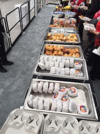 Here's the breakfast spread served to shareholders after AT&T's annual shareholders meeting on Friday, April 28, 2017. The meeting was held at the Dallas City Performance Hall, at 2520 Flora St. in downtown Dallas' Arts District.(DMN Staff)