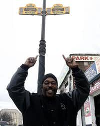 A sign on the Bronx Walk of Fame honors Grandmaster Caz.((Paul Ross))