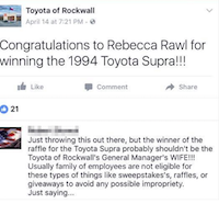 A screenshot of Toyota of Rockwall's Facebook post before a comment noting the raffle winner's spousal connection to a dealership employee was removed, as published at TheDrive.com.<br>(TheDrive.com<br>)