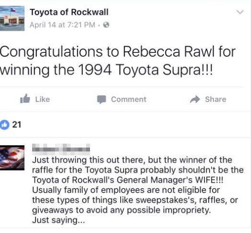 A Screenshot Of Toyota Of Rockwallu0027s Facebook Post Before A Comment Noting  The Raffle Winneru0027s Spousal