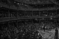 "Dominic Dromgoole onstage at the Globe. From <i>Hamlet Globe to Globe</i>.(<p><span style=""font-size: 1em; background-color: transparent;"">(Sarah Lee)</span><br></p><p></p>)"