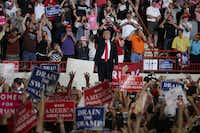 "President Donald Trump acknowledged supporters during a ""Make America Great Again Rally"" at the Pennsylvania Farm Show Complex &amp; Expo Center on April 29, 2017, in Harrisburg, Pa. President Trump held a rally to mark the first 100 days of his presidency. (Alex Wong/Getty Images)<div><br></div>(Alex Wong/Getty Images)"