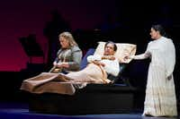 "Brittany Wheeler, left, in the role of Diana, Octavio Moreno in the role of Laurentino and Cecilia Duarte in the role of Renata perform a scene during the Fort Worth Opera's dress rehearsal of ""Cruzar la cara de la luna"" on April 28, 2017 at Bass Performance Hall in Fort Worth, Texas. (Robert W. Hart/Special Contributor)(Special Contributor)"