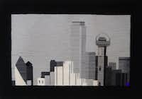 "LaDonna Mayer created this tapestry of the Dallas skyline as part of her ""51 American Cities"" series. The collection will be on display at her Santa Fe space, Studio 17, during the New Mexico Fiber Crawl in May."