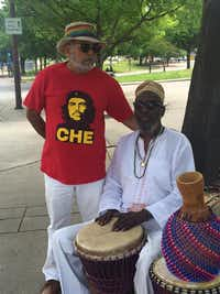 Arthur Riggins (right) drummed at last month's Mega March in Dallas.((Facebook))