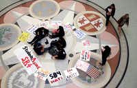 Students gathered in the rotunda at the Texas Capitol to protest Senate Bill 4 last week.(Eric Gay/The Associated Press)