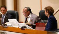 Dallas County Commissioner John Wiley Price (center) smiles while speaking next to County Judge Clay Jenkins (left) and District 4 Commissioner Dr. Elba Garcia during a Commissioners Court meeting in Dallas, Tuesday, May 2, 2017.(Jae S. Lee/Staff Photographer)