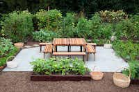 A communal table anchors the gathering place in the middle of the White House Kitchen Garden in Washington, D.C.(National Park Service)