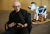 Stan Richards, the founder of the advertising agency The Richards Group, The rocking cow, which was given to Richards by Truett Cathy, the founder of Chick-fil-A, is now banished to a storge room. (Andy Jacobsohn/The Dallas Morning News)(Andy Jacobsohn/Staff Photographer)